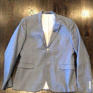 Topman Suits & Blazers - Topman men's light grey/ baby blue blazer slim fit